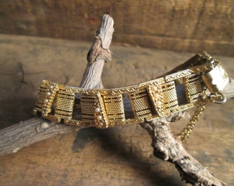 Vintage Gold Tone Faux Seed Pearl Bracelet with Chain