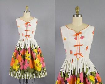 1950s cotton floral dress/ 50s border print sundress/ medium