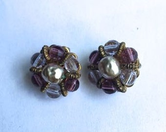 Vintage signed Miriam Haskell Purple Beads and Baroque Pearl Filigree Earrings
