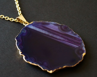 Purple Agate Slice Necklace, Gold Agate Statement Necklace