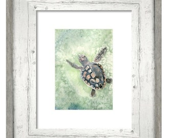 Sea turtle art, aquamarine beach cottage home decor, watercolor loggerhead seaturtle 8x10 inch print, CHOOSE FINISH: giclee matte or glossy
