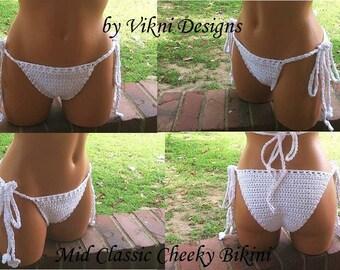 Mid Classic Cheeky Bikini Bottom, Crochet Bikini Bottom by Vikni Designs