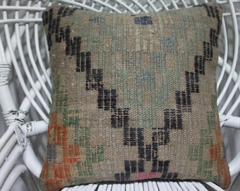 16x16 organic kilim pillow  geometric pillow indoor outdoor kilim pillow geometric design kilim pillow 16x16 anatolian kilim pillow  3564