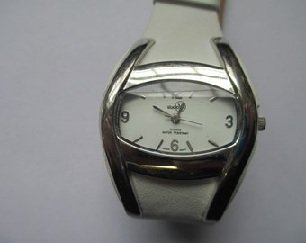 """Vintage lady's watch """"Studio Y""""  white leather band  used watch"""