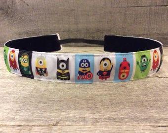 Superhero Minions Nonslip Headband, Noslip Headband, Workout Headband, Sports Headband, Running Headband, Athletic Headband