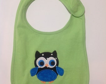 Owl bib, baby bib, baby shower gift, gift for new Mom, teething