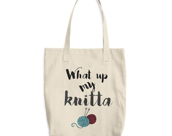 knitting bag - what up my knitta - funny tote bag - gifts for knitters - denim tote - book tote bag - knitting needle bag - knit craft bag