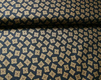 Thimbleberries  Quilt Fabric - Old World Comfort -Dk Brn/blk with Gold Squares- By the Yard
