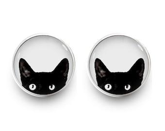 Peeking Cat Earrings Black Cat Stud Jewelry (with jewelry box)
