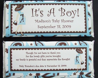 Personalized Candy Bar Wrappers Baby Shower Favors, Set of 20 It's A Boy