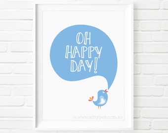 Printable Art, Oh Happy Day, digital print, bird print, kids print, nursery room decor, kids room decor, kids printable, wall art, boys room