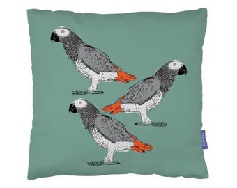 Parrot Cushion, African Grey Parrot Cushion, Three Parrots Cushion, Nature Inspired, Pet Gift, Home Decor, Decorative Cushion