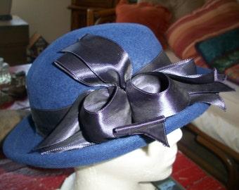 Vintage 1920's Style Wool Felt Bowler Hat By Betmar 1980's Era. Edwardian Riding Hat/Derby Hat/Downton Abby.