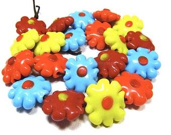 1 piece 18mm Lampwork Glass Flower Beads, Daisy Beads, Yellow, Orange, Red, Blue