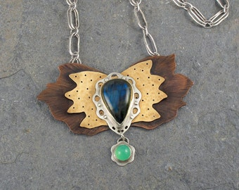 I Can Fly! ~ Mixed Metal, Labradorite and Chrysoprase Pendant with Handmade Sterling Chain ~ One-of-A-Kind Art Jewelry