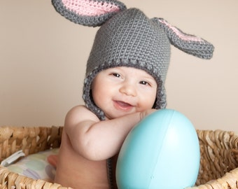 Bunny Hat with Ears, Rabbit earflap Hat in size 6 to 12 months
