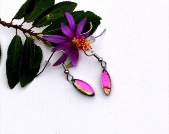 181 Small dichroic fused glass earrings wedge shape in pink