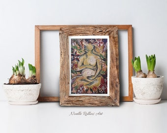 Pregnant woman wall art Sacred Garden - small matted artwork print in 5 x 7 inch mat. for baby shower maternity doula midwife inspiration