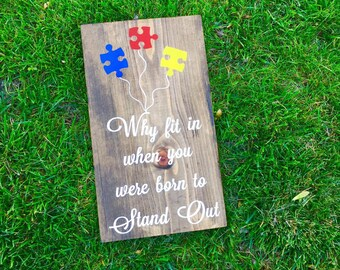Autism Sign, Autism Balloon Puzzle, Autism Born To Stand Out