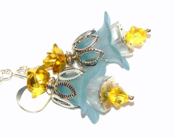 Flower Earrings - Blue, white, yellow and silver Tulip lucite beads