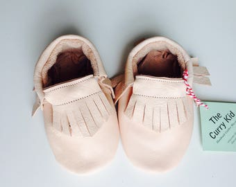 Genuine leather moccasins in peach