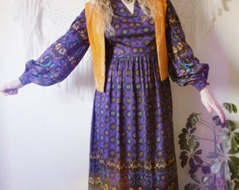 Vintate 1970s purple smock maxi dress with choker neckline Medium