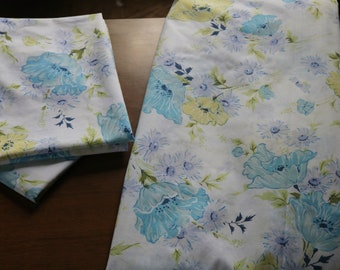 Vintage Floral Flat Sheet with Matching Two Pillowcases