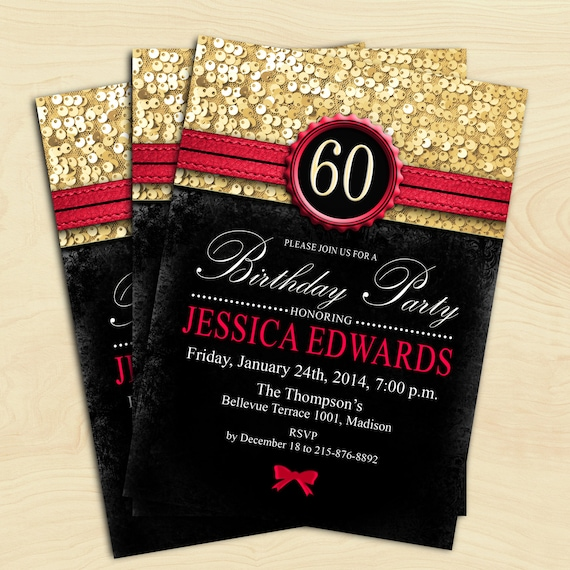 Women 60th Birthday Invitation / 70th / 80th / 90th / Any Age