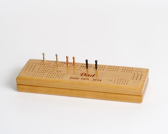 Personalized Cribbage Board, Custom Engraved Wood Cribbage Board, Gift for Grandparents, Customized Cribbage Board