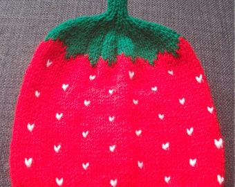 Hand Knitted Strawberry Baby Hat