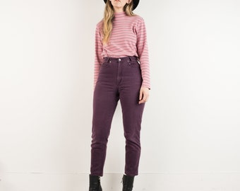 VINTAGE PINK STRIPED Ribbed Mock Turtleneck Sweater / S / 90s hipster sweater knit sweater rose grey white stripes jersey top