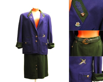 Vintage felted wool suit, blue and green festive folk blazer and skirt, with belt, duck, horn buttons and pin, 1980s made in Austria