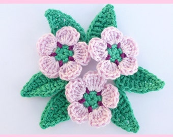 Crochet applique, 3 crochet flowers & 6 lcrochet eaves, cardmaking, scrapbooking, appliques, handmade, sew on patches embellishments