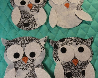 """Die Cut Applique Shapes. Set of 4,   Owl Shapes.  White w/ Lacy Skull Fabric.  4 x 4 1/2"""".  Fusible (Iron On)."""