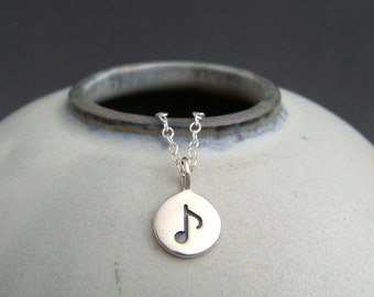 """tiny silver music note necklace. small musical eighth note charm. sterling silver simple jewelry delicate pendant dainty. musician gift 3/8"""""""
