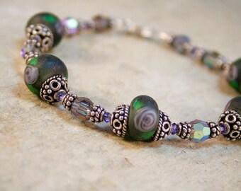 Foggy Day Artisan Lampwork Handmade Bracelet