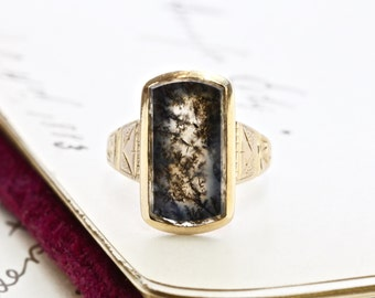 Antique Dendritic Agate Ring, Victorian 14k Large Rectangular Moss Agate Ring, Bohemian Statement Jewelry Rustic Anniversary Gift Love Token