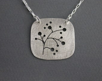 SMaddock Tree Series Silver Square Pendant Necklace