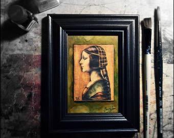 Angela Borgia/ACEO/Original/ Print Art Card / Portrait / Renaissance / Miniature / ATC / Artist Trading Card /