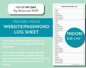 Midori Travelers Notebook Website and Password Log - Printable Password Log for MTN