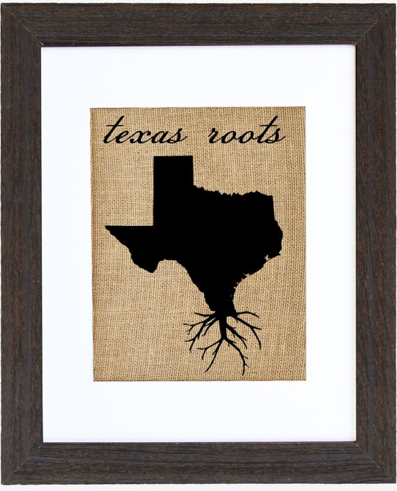 Arte de pared de raíces de Texas impresión de arpillera arte