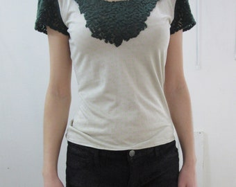 Cotton-blend jersey and wool-blend guipure lace top/top in jersey cotton and wool blend guipure lace