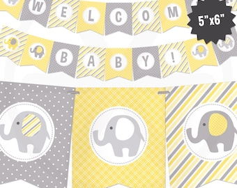 Yellow Elephant Baby Shower Banner - Baby Banner - Yellow and Gray Baby Shower Decorations - Gender Neutral Baby Decor - Printable Garland