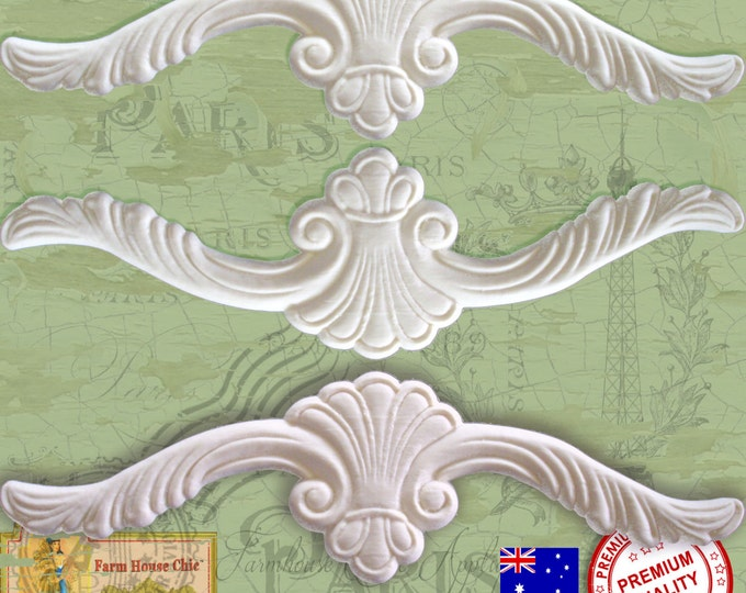 3 x Shabby French Chic Furniture Mouldings, Crowns, Furniture Appliques, Furniture Carvings, Furniture Decorations. Made in Australia