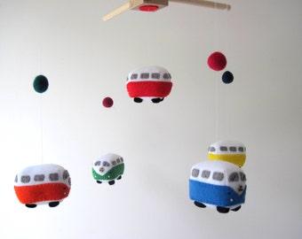 VW Campervan Felt Mobile, Toy Car Kombi Bus Felt Baby Mobile Wool Felt Baby Mobile for Baby Crib, Kids Playroom or Modern Nursery Decor