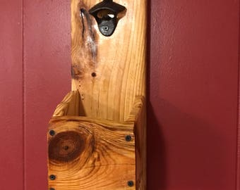 Rustic bottle opener with carvh