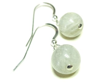 Sterling Silver & Gemstone Ball Drop Earrings - Grey Labradorite 9mm