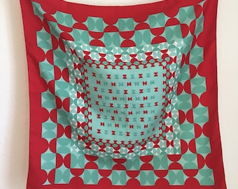 mint and red mod circles scarf, vintage scarf, made in italy 26.5 by 26.5