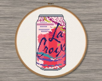La Croix Passionfruit Soda Can - PDF Cross Stitch Pattern