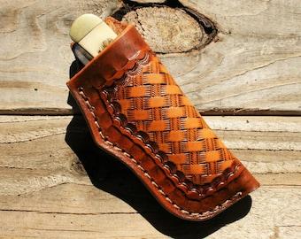 """Custom Leather Knife Sheath for 4"""" Trapper-E"""